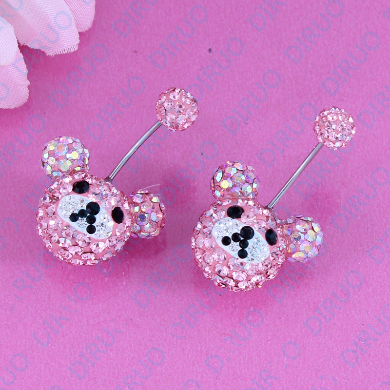 Beautifl bear rhinestone sequined Stud Earring Fashion christmas gift party High quality