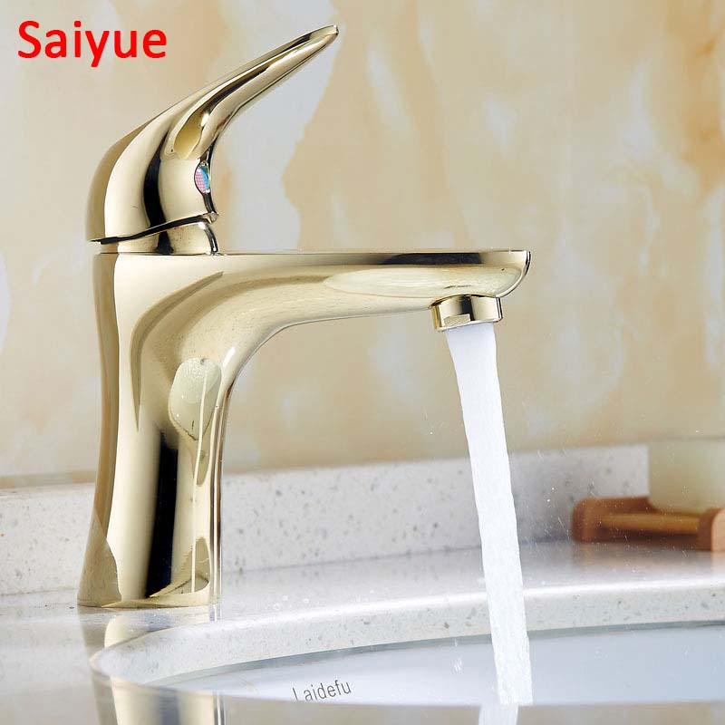Luxury Gold Single Handle Hot & Cold Water Bronze Brass Bath Kitchen Faucet Basin para banheiro Torneira Sink Mixer Tap