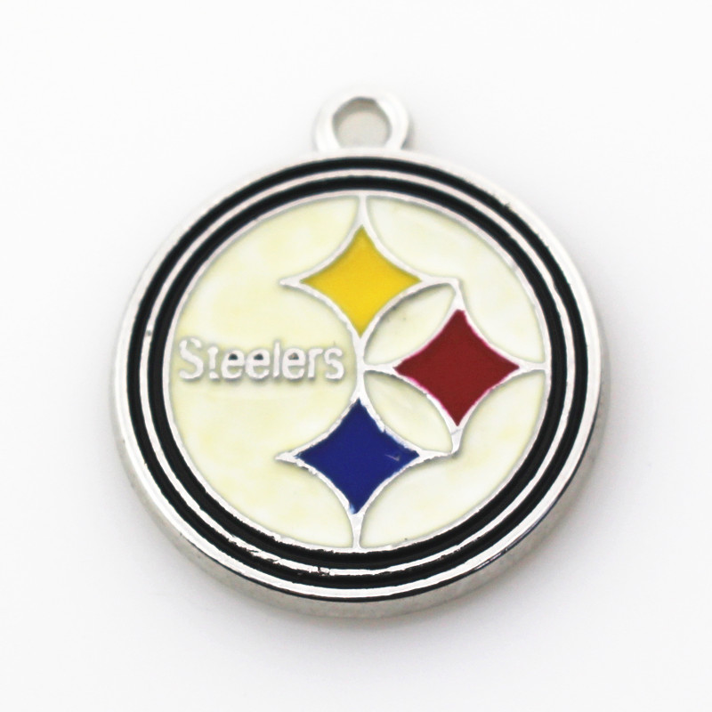 12 adet Pittsburgh Steelers Kolye Charms Dangle Charms Asma Futbol Spor DIY Takı Bilezik Kolye Yüzer charm