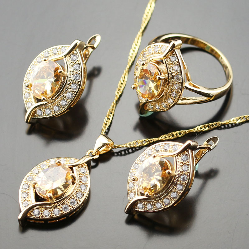 Orange Morganite Jewelry Set For Women Gold color White crystal Necklace/Stud Earring/pendant/ring Js01-058
