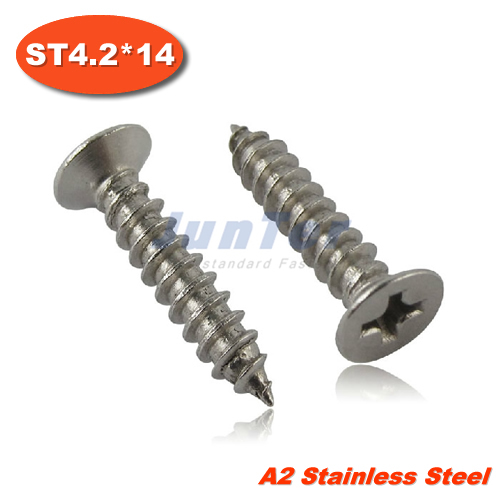 100pcs/lot DIN7982 ST4.2*14 Stainless Steel A2 Phillips Cross Recessed Countersunk Self Tapping Screw