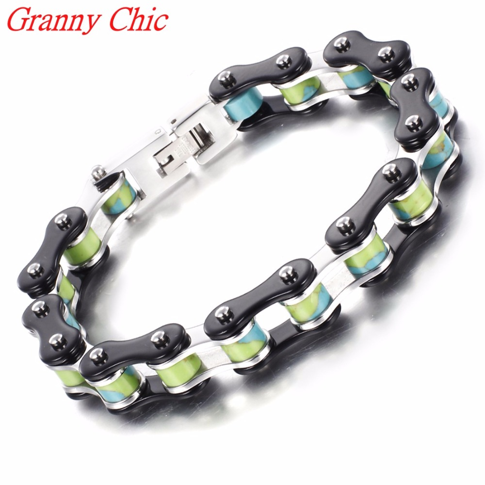 Granny Chic 10MM Wide Silver Black Stainless Steel Bike Bracelet Men Bicycle Motorcycle Chain Link Bracelets Punk Rock Jewelry