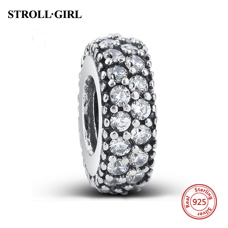 Hot Sale 925 Sterling Silver Bead Charm Fashion 4 Color Full Crystal Beads Fit Pandora charms Bracelets and Bangles Jewelry gift