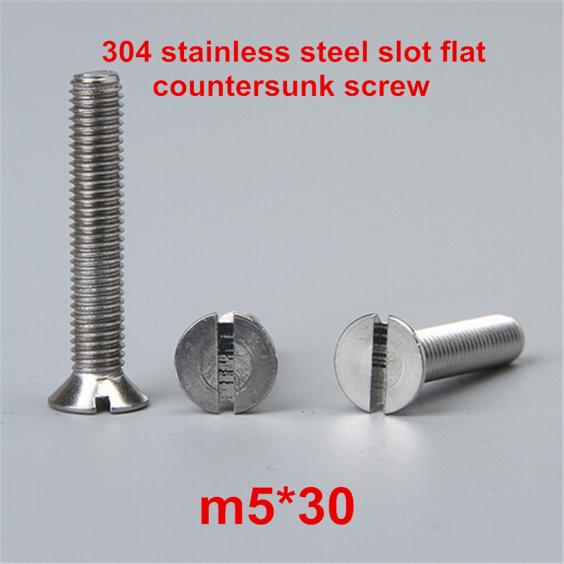 100pcs m5*30 304 stainless steel slot / slotted drive flat head countersunk machine screw