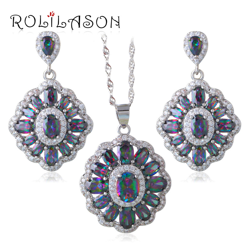 ROLILASN Raingow MysticZircon Silver Stamped crystal Necklace Earrings Jewelry Sets for women JS661