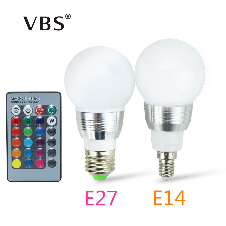 High Power RGB LED Lamp E27 E14 3W RGB Light AC85-265V Lampara 16 Colors Change+Remote Controller bombillas led Christmas
