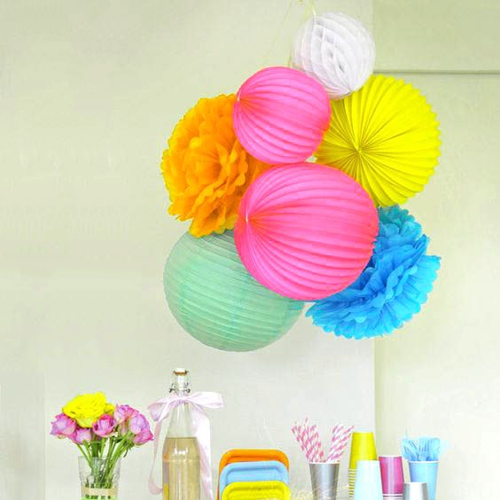 7pcs Paper Crafts Party Decoration Set Accordion lanterns Paper Honeycombs/Tissue Pom Poms/Lantern Birthday Wedding Party Decor